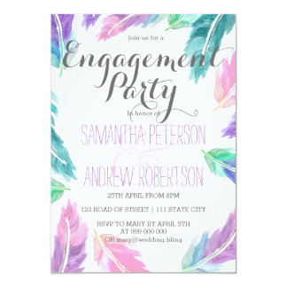 Painted watercolor feathers engagement party card