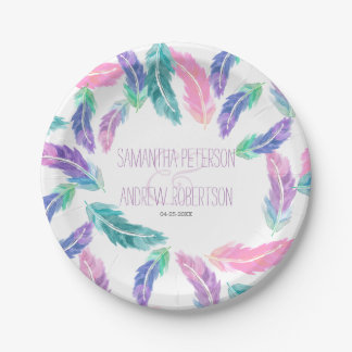 Painted watercolor feathers wedding paper plate
