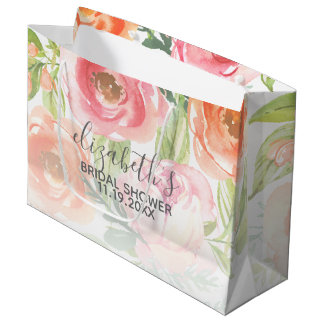 Painted Watercolor Flowers Bridal Shower Large Gift Bag