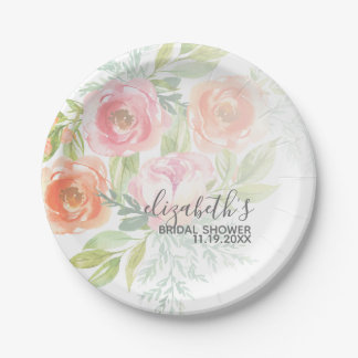 Painted Watercolor Flowers Bridal Shower Paper Plate