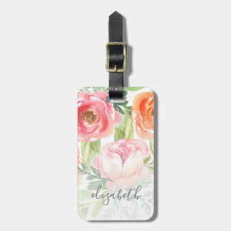 Painted Watercolor Flowers Calligraphy Name Luggage Tag