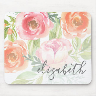Painted Watercolor Flowers Calligraphy Name Mouse Pad