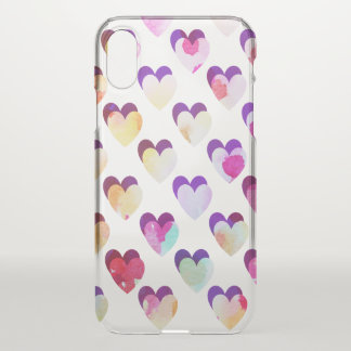 Painted watercolor hearts - transparent iPhone x case