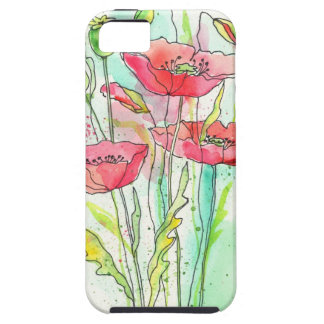 Painted watercolor poppies iPhone 5 cover