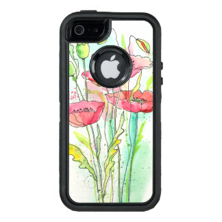 Painted watercolor poppies OtterBox iPhone 5/5s/SE case