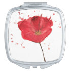 Painted watercolor poppy flower 2 compact mirror