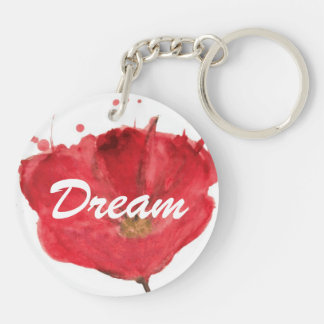 Painted watercolor poppy flower 2 Double-Sided round acrylic key ring