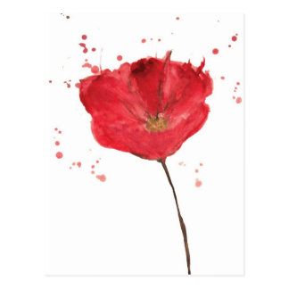 Painted watercolor poppy flower 2 postcard
