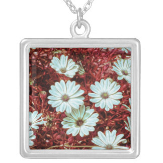 Painted White Daisie Flowers and Foliage Print Custom Necklace