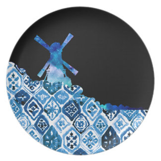 Painted Windmill Party Plate