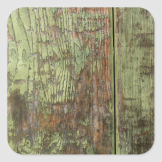 Painted wood distressed grunge colourful cool red square sticker