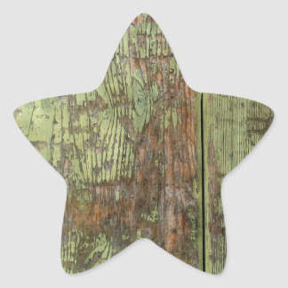 Painted wood distressed grunge colourful cool red star sticker