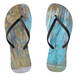 Painted Wood flip flops