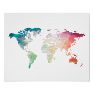 Painted World Map Poster