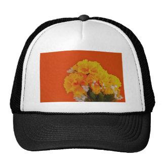 Painted Yellow Flowers on Orange Cap