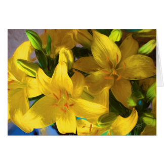 Painted Yellow Lilies Greeting Card
