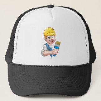 Painter and Decorator Cartoon Handyman Trucker Hat