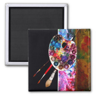 PAINTER ARTIST COLOR PALETTE AND BRUSHES MAGNET