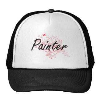 Painter Artistic Job Design with Butterflies Cap