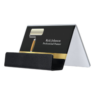 Painter Black Gold Paint Roller Desk Business Card Holder
