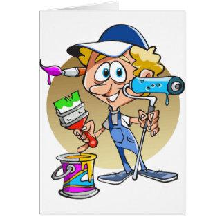 Painter decorator Cartoon mascot Card