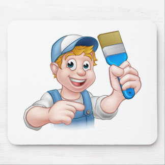Painter Decorator Handyman Cartoon Character Mouse Pad