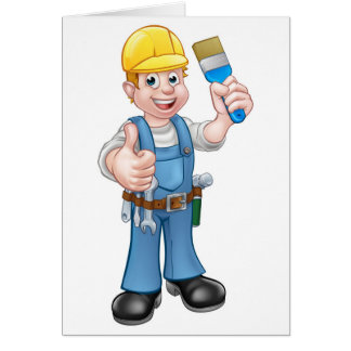 Painter Decorator Holding Paintbrush Card