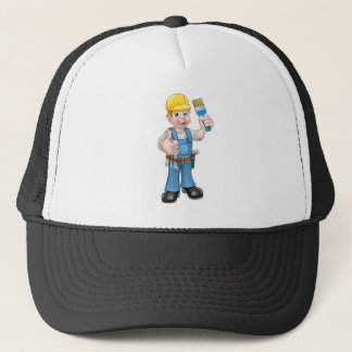 Painter Decorator Holding Paintbrush Trucker Hat