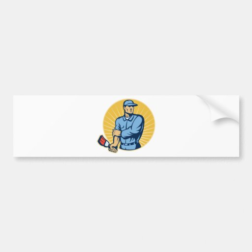 Painter holding paintbrush rolling up sleeves bumper stickers