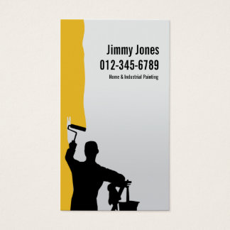 Painter Roller Brush Painting Orange Business Card