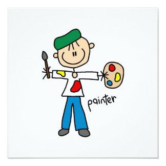 Painter Stick Figure 13 Cm X 13 Cm Square Invitation Card