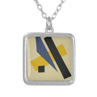 Painterly Architectonic by Lyubov Popova Square Pendant Necklace