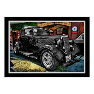 Painterly Black Classic Car Poster