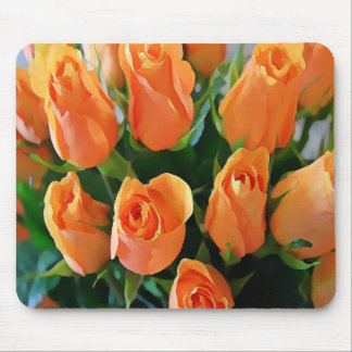 Painterly Bouquet Of Apricot Roses Mouse Pad