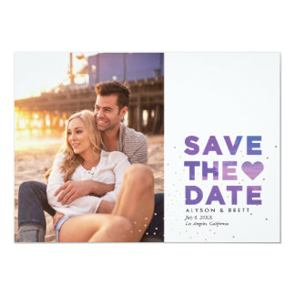 Painterly Confetti Modern Photo Save the Date 13 Cm X 18 Cm Invitation Card