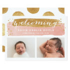 Painterly Faux Gold Pink  | Birth Announcement