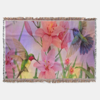 Painterly Floral Fantasy Spring Throw Blanket