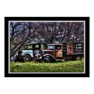 Painterly Old Trucks Poster