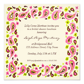 Painterly Paisley Border Invitation, Pink Green Sq 13 Cm X 13 Cm Square Invitation Card