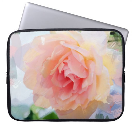 Painterly Pink Rose Computer Sleeves
