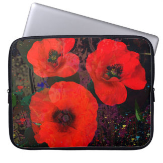Painterly Popping Poppies Laptop Computer Sleeves