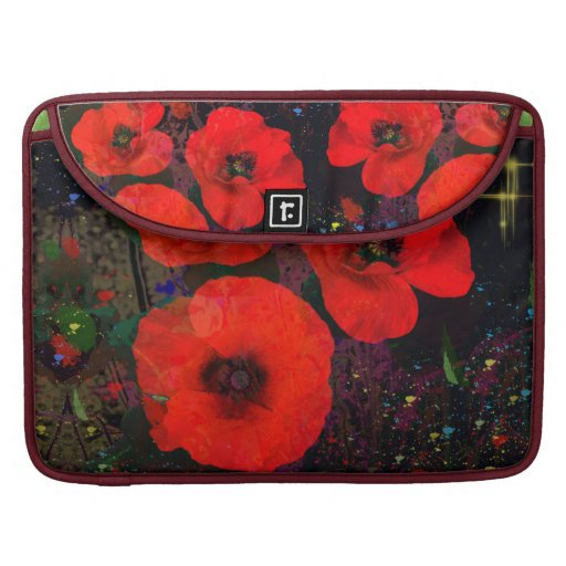 Painterly Popping Poppies Sleeve For MacBooks