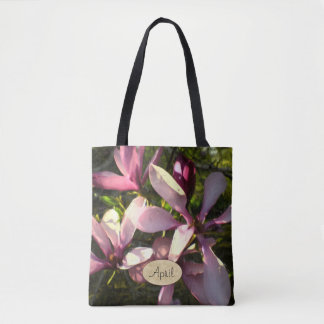 Painterly Purple Magnolia Blossoms Monogrammed Tote Bag