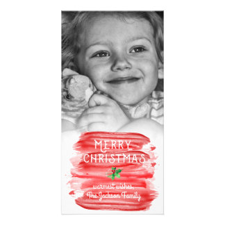 Painterly Red Watercolor Christmas Holly Photo Custom Photo Card