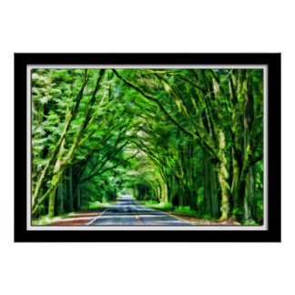 Painterly Redwoods Road Poster