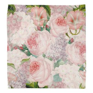 Painterly Retro Roses Lilacs Flower Spring Pattern Bandana