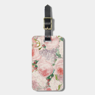 Painterly Retro Roses Lilacs Flower Spring Pattern Luggage Tag