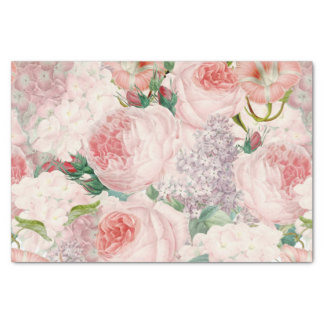 Painterly Retro Roses Lilacs Flower Spring Pattern Tissue Paper