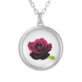 Painterly Rose Round Pendant Necklace