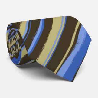 Painterly Striped Brown, Khaki & Peri Two-Sided Tie